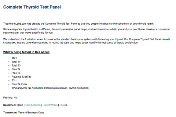 complete thyroid test panel True Health Labs