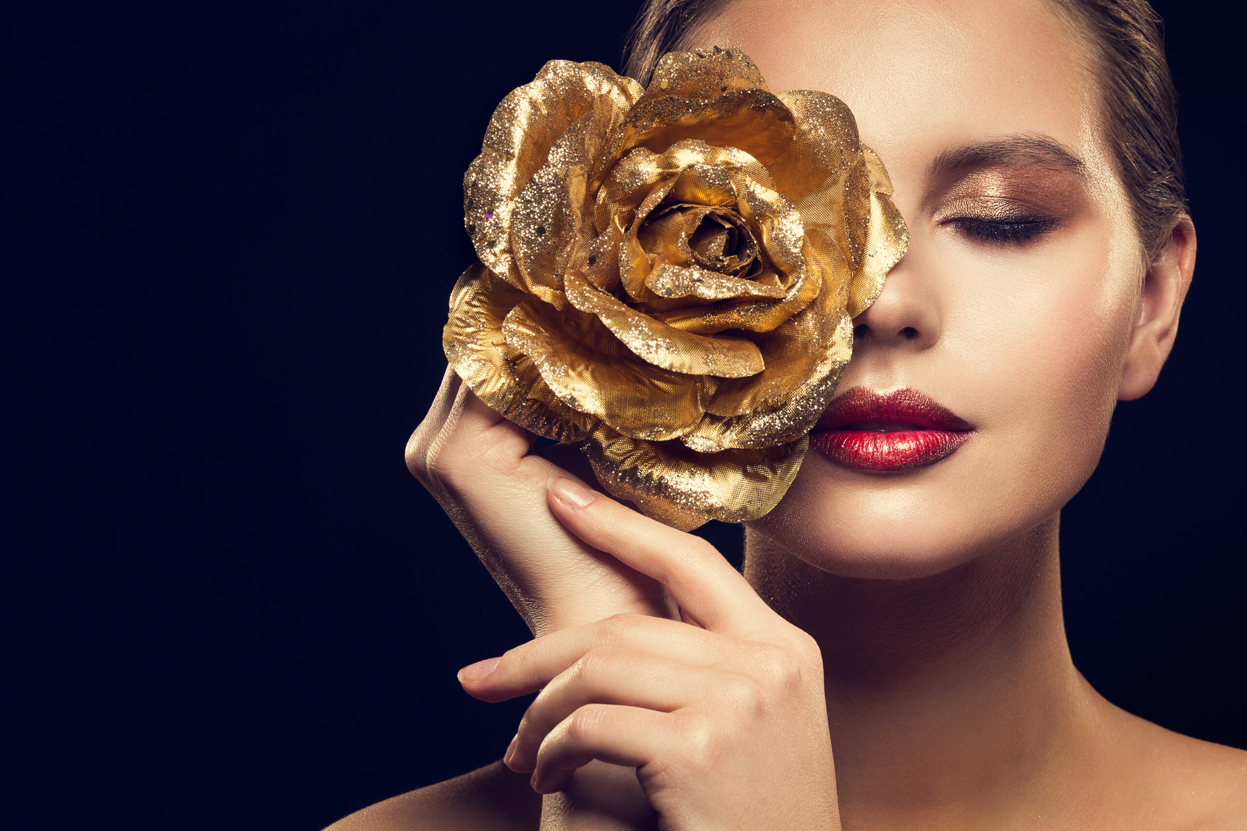 Women With Breast Cancer - Woman With Gold Flower Over Eye