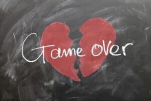 Are You Living With A Narcissist - Broken Heart With Words Game Over