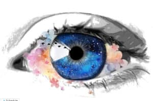 Altered Perception - Beautiful Eye With Flowers Around It