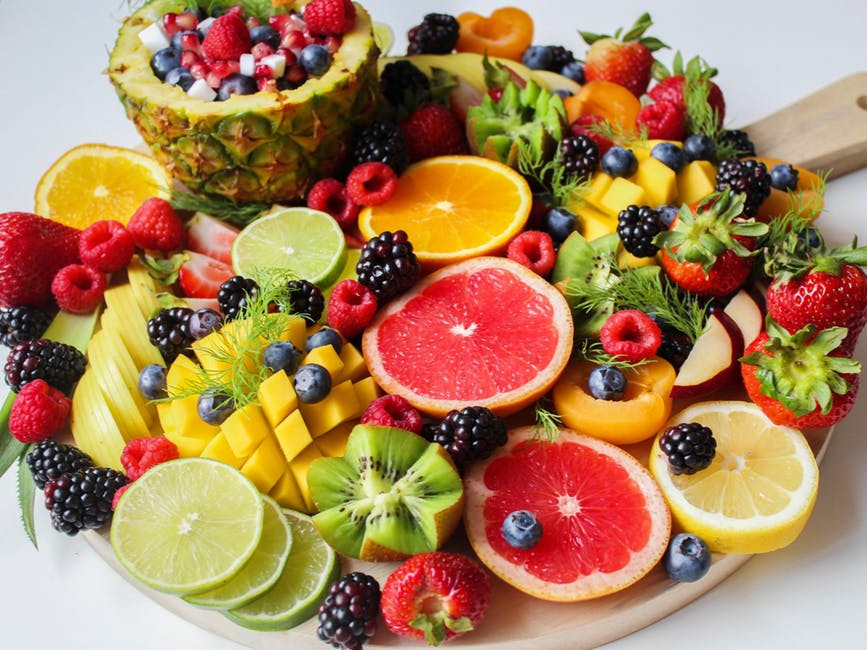 beautiful platter of assorted fruit